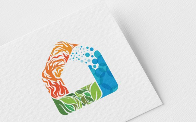 Home plumbing design with concept of fire,water and leafe. Plumbing logo design with concept of eco-friendly